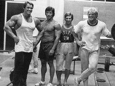 Arnold Schwarzenegger, Frank Zane, Serge Jacobs and Dave Draper at the original Gold's Gym in Venice Beach, California.
