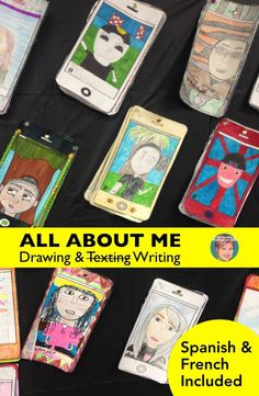 """All about me activities for back to school and other times of the year! All about me selfie and (texting) writing is a great way to start the school year! Students will draw their self portrait and then write """"text"""" about themselves. This makes a great back to school bulletin board display so everyone can get to know each other at the beginning of school. Available in Spanish and French."""