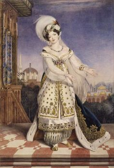 "jeannepompadour: ""The operatic soprano Giuseppina Ronzi in oriental costume as Fatima in Rossini's opera Pietro L'Eremita by Alfred Edward Chalon, 1823 """