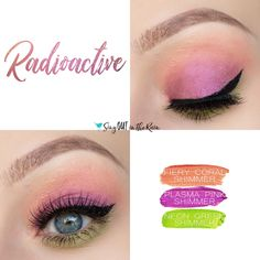 Radioactive Eye Trio uses three SeneGence ShadowSense : Plasma Pink Shimmer, Neon Green Shimmer