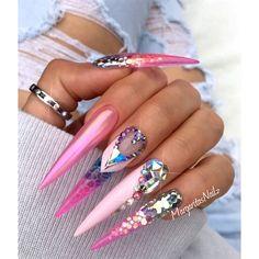 Stiletto Nails by MargaritasNailz Swarovski crystal design glitter ombré  fashion nail art