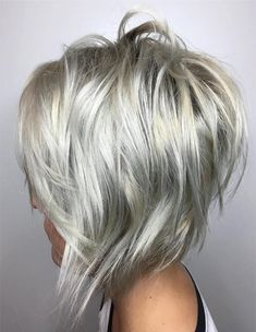 Silver Hair Color Ideas for Inverted Bob Hairstyles 2018