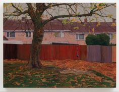 George Shaw at Wilkinson Gallery, London - Contemporary Art Society City Landscape, Fantasy Landscape, Urban Landscape, Watercolor Architecture, Watercolor Landscape, Landscape Paintings, Architecture Courtyard, Architecture Board, Saul Leiter
