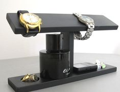 Men Watch Holder- Men Watch Stand - Watch Display with ring and cufflink holder on Etsy, $29.95