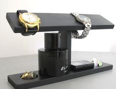 Men Watch Holder- Men Watch Stand - Watch Display with ring and cufflink holder