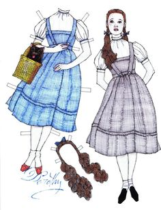 """Children's Classic Books & Movies: Dorothy from L.L. Baum's """"The Wizard of Oz,"""" a paper doll by Donald Hendricks"""