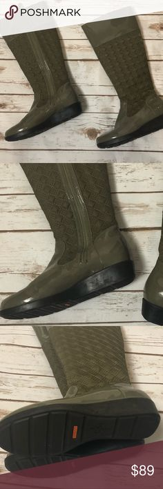 Cole Hahn Nike Air Waterproof Boots Sz5B Olive 👢 These are beautiful and have never been worn -NWT. They are an olive green color with glossy material on the very top and bottom of the boot and quilted pattern on the body. They are waterproof and a size 5B and the comfort of the Cole Hahn Nike Air line ! Cole Haan Shoes Winter & Rain Boots