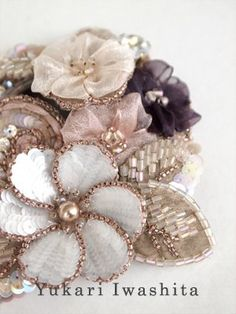 Yukari Iwashita inspired embroidery is so interesting if you think of it in a vest/applique way. Wouldn't this be pretty: Tambour Beading, Tambour Embroidery, Couture Embroidery, Embroidery Fashion, Ribbon Embroidery, Beaded Embroidery, Embroidery Patterns, Simple Embroidery, Beaded Flowers