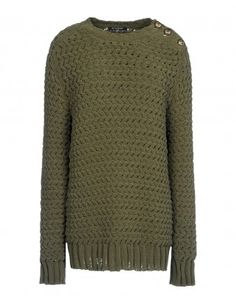 Balmain Green Textured Knit Sweater - Shop chic ways to try the normcore trend: http://shop.harpersbazaar.com/trends/normcore/
