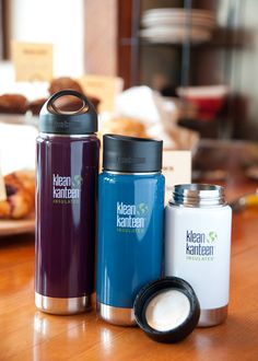 My new Klean Kanteen Flask is on its way to me right now. 100% Recycled and Recyclable, this is the best alternative I could find for plastic water bottles and paper coffee cups. It keeps things cold for 12 hours or hot for 6. I picked the 16oz because its big enough but still fits in your bag. The Monterey Blue colour looks cool too!