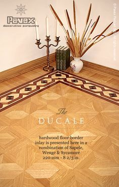 The DUCALE hardwood floor border inlay pattern. Manufactured by Pavex Parquet.
