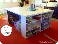 Two hollow core doors ($25 ea Home Depot), 4 shelving units (WalMart $16 ea), primer, paint, polyacrylic and 4 large L brackets & screws.  TADA!   Tutorial and her entire craft room here: theivycottageblog...
