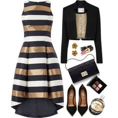 Metallic Stripe Dress by kiki-bi on Polyvore featuring Givenchy, Oscar de la Renta, Chanel, Christian Dior and metallicdress
