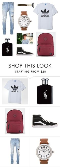 """Men's Outfit"" by janelingodfrey ❤ liked on Polyvore featuring adidas, Ralph Lauren, Parkland, Vans, Balmain, Shinola, The Art of Shaving, men's fashion, menswear and vans"