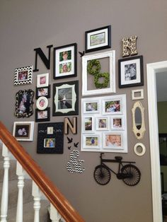 Beautiful decorating staircase wall ideas coloniel half above . staircase wall decorating ideas under walls. Decorating Stairway Walls, Staircase Wall Decor, Stair Walls, Stair Decor, Staircase Ideas, Stairwell Wall, Stairway Gallery Wall, Modern Gallery Wall, Gallery Wall Layout