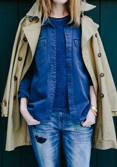 trench coat + denim layers