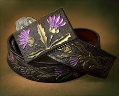 Hand tooled leather belt with thistle ornament  Exclusive