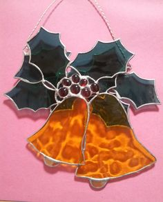 Stained Glass  Two Bells and Holly  Christmas by Stainedglasslove, $35.00