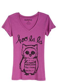 Hoo-la-la Owl Tee, $19.50
