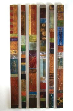 """Cheryl Martin """"Metal Road 1-6"""" metal stains, dyes and patinas create a beautiful finish on these steel panels"""