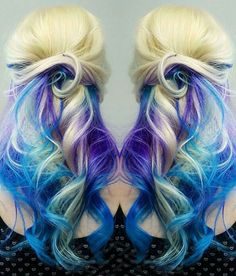 Blonde purple blue dyed hair color @shearcraft
