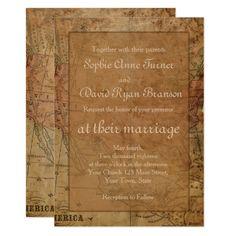 Unique Vintage Map Destination Wedding Invitation