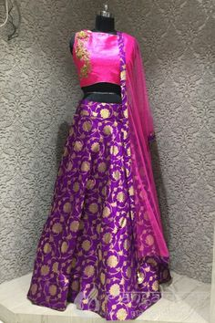 Creative brocket silk which gives a designer partywear readymade choli suit For more details contact us : +919377222211 (whatsapp available)