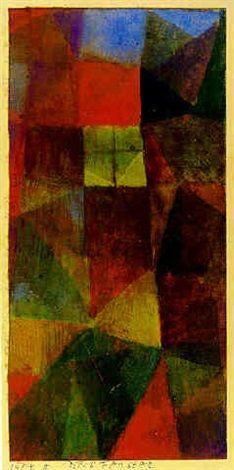 "Paul Klee 'Das Fenster'(The Window) 1914 Watercolor on paper 7 x 3.4"""
