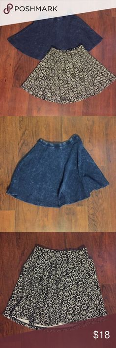 """Skater Skirts (Bundle of 2) 💖💕 2 Size Small Skater Skirts, in like new condition. The Black & White print is from Aeropostale & it has a textured feel. Unstretched waistband measures 11"""" & skirt length is 15.5"""" . The denim colored skirt is from Forever 21. Unstretched waistband measures 10.5"""" & 15"""" skirt length. Forever 21 Skirts Circle & Skater"""
