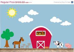 20% OFF SALE Farm Wall Decal Reusable Kids Farm by StudioWallArt