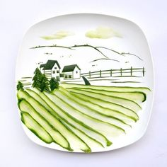 """Landscape made from a single cucumber - and 12 other """"food paintings"""". I wish I was artistic sometimes!"""