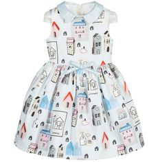 Pale Blue 'House' Print Cotton Dress, Simonetta, Girl