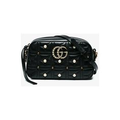 Gucci Black Gg Marmont Leather Shoulder Bag ($1,690) ❤ liked on Polyvore featuring bags, handbags, shoulder bags, black, 100 leather handbags, gucci shoulder handbags, genuine leather purse, shoulder bag handbag and shoulder handbags #leatherhandbags