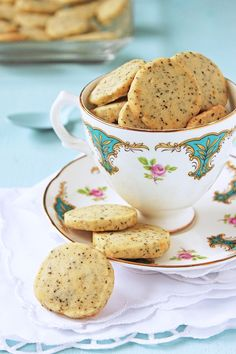 Earl Grey Tea Cookies 2 cups all purpose flour 2 tbsp finely ground tea (tea can be ground in a spice grinder or mini food processor, use the best quality you can afford as cheaper teas have less flavour) 1/2 tsp salt 1 cup unsalted butter, softened 1/2 cup powdered sugar 1 tbsp finely grated orange zest (optional)  (http://whatsheshaving.com/2011/11/21/earl-grey-tea-cookies-take-two/)