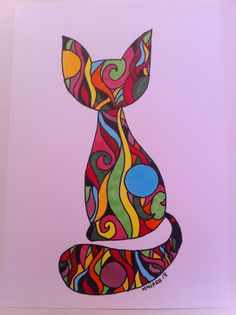 Copic colorful zentangle doodle cat drawing. Cat illustration