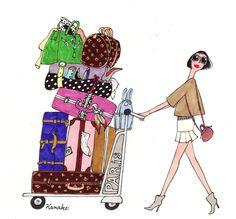 My Little Paris, Kanako illustration Illustration Parisienne, My Little Paris, Girly, Travel Illustration, Fashion Sketches, Fashion Illustrations, Travel Style, Fashion Art, Paris Fashion