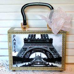 decoupage cigar boxes | Ah...Paris CIGAR BOX PURSE Vintage Eiffel Tower Altered Art Decoupage ...