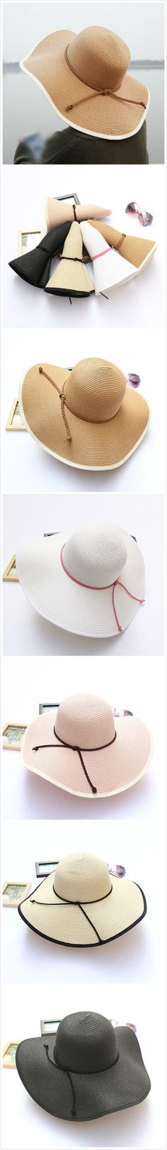 [$ 10.98]   Women Summer Foldable Solid Panama Style Beach Straw Hat Casual Travel Wide Brim Visor Sun Hat
