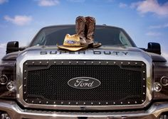 Ford F-250. Cow Boy Boots. Ready for Craven Country Jamboree!!