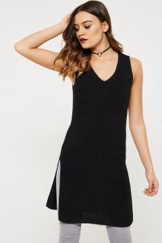 Only Monaco Sleeveless Long Split Knitted Top
