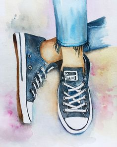Watercolour painting converse shoes fashion original, sale on etsy Pencil Art Drawings, Art Drawings Sketches, Cute Drawings, Painted Converse, Women's Converse, Custom Converse, Painted Shoes, Shoes Wallpaper, Converse Wallpaper