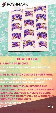 French Tip Waterslide Nail Decals Save time and still have a perfect manicure. These water transfer nail tattoo decals are perfect for the lazy nail artist.   To view all filter my closet: Category - Women - Makeup - None   SALE: Buy one at the original? price, get each additional small sheet for $2, and each additional large sheet for $3. Create your bundle and submit an offer Diamonds & Jules Makeup