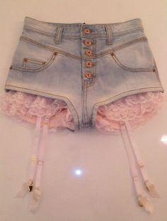 shorts lace pink garter pastel soft grunge weheartit denim shorts kawaii frilly lovely High waisted shorts lolita garter