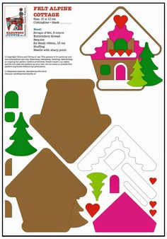 Handwerkjuffie: ALPENHUT van vilt = Handicraft Juffie: Alpine felt - felt house Christmas oranment pattern idea template design idea craft