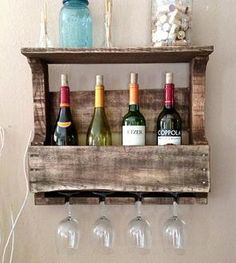 Small Reclaimed Wood Wine Rack with Shelf