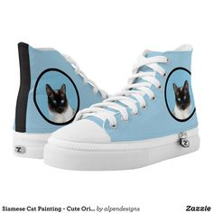 Siamese Cat Painting - Cute Original Cat Art High-Top Sneakers - Canvas-Top Rubber-Sole Athletic Shoes By Talented Fashion And Graphic Designers - #shoes #sneakers #footwear #mensfashion #apparel #shopping #bargain #sale #outfit #stylish #cool #graphicdesign #trendy #fashion #design #fashiondesign #designer #fashiondesigner #style