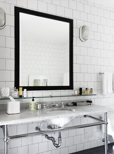 White square tile with grey grout