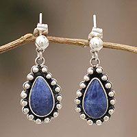 Sodalite dangle earrings, gemstone teardrops