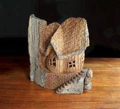 Hand Carved Whimsical Cottage in Cottonwood Bark by Tom Gow