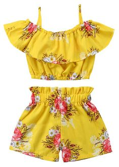 Toddler Kids Baby Girl Floral Halter Ruffled Outfits Clothes Tops+Shorts Set Image 1 of 6 Toddler Girl Style, Toddler Girl Outfits, Baby Girl Dresses, Toddler Fashion, Fashion Kids, Toddler Girls, Baby Girls, Kids Girls, Dress Girl